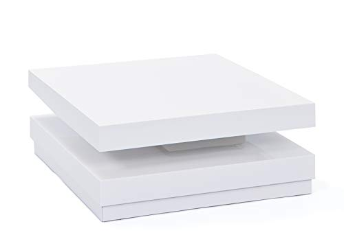 Links 20800920 Duomo Table Basse Carrée Pivotante Blanc 75 x 75 x 30 cm