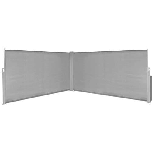 UnfadeMemory Ausziehbare Markise Seitenmarkise Standmarkise Seitenwandmarkise mit 2 Pfosten, Garten Terrasse Sonnenschutz Windschutz und Sichtschutz, Breite bis zu 600 cm (160 x 600 cm, Grau)