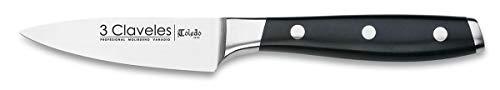 "3 Claveles - Cuchillo de Verduras Forjado, Pulido Mate, Acero Inoxidable, línea Toledo - (9cm - 3,5\"")"