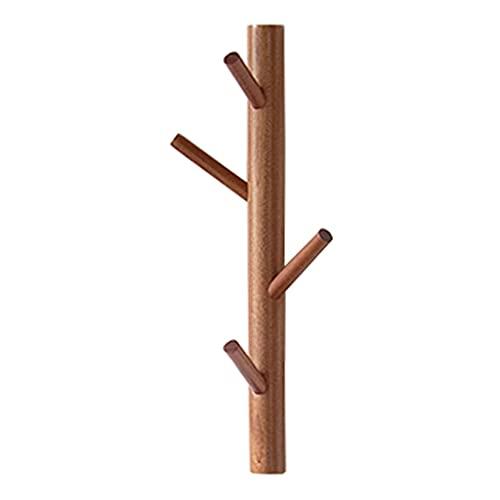 FMHCTN Perchero Vertical de Madera con Gancho para árbol de Pared, Organizador de Paraguas, Perchero Decorativo de Pared, Perchero de Entrada rústico con Ganchos para Colgar en el Pasillo, baño