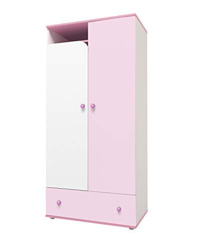 Zweitüriger Kleiderschrank Polini kids rosa weiß