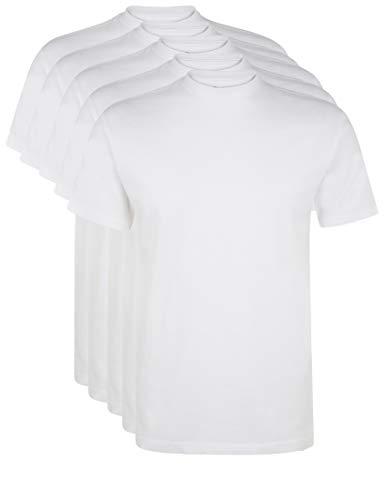 Ultrasport Herren Sport Freizeit T-Shirt mit Rundhalsausschnitt 5er Set, Weiß, XL