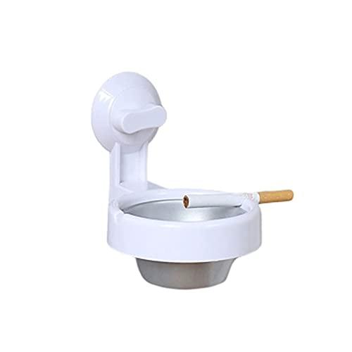 ZZFF Cenicero de acero inoxidable sin perforaciones, diseño de personalidad creativa, cenicero para baño, cenicero para cigarrillos, color negro (color: blanco)