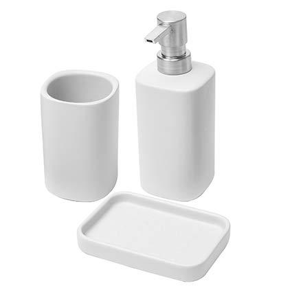 Baroni Home Set Portasapone Bagno 3 Pezzi Linea Bagno Modern in Ceramica Bombato Bianco, Include Dispenser, Bicchiere e Portasaponetta