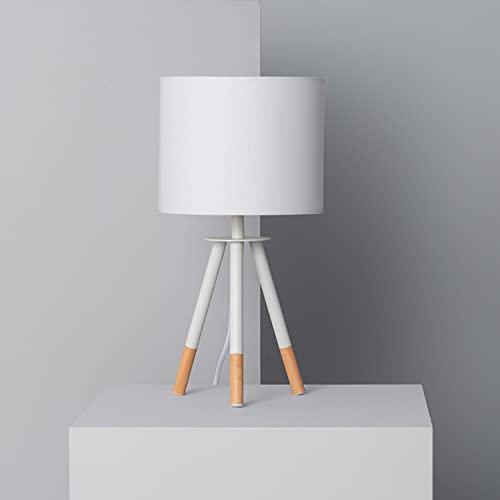 LEDKIA LIGHTING Lámpara de Mesa Kathathu Ø200x295 mm Blanco E27 Casquillo Gordo Metal...