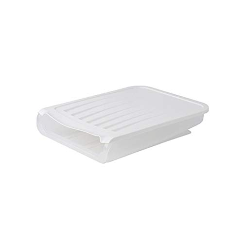 DSFHKUYB Caja de Almacenamiento de Huevos Soporte de Almacenamiento de Huevos con Desplazamiento automático Bandeja de Huevos Multifuncional con Tapa para refrigerador Caja de,Blanco