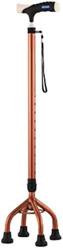 LHY wandelstok houder wandelstok voor Oudere telescoop Stable slipvaste lichtgewicht constructie hoogte verstelbaar met 4 voeten Brown Walking stokken mannen of vrouwen antislip