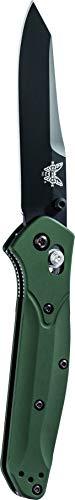 Benchmade - 940 EDC Manual Open Folding Knife Made in USA, Reverse Tanto Blade, Plain Edge/Coated Finish, Green Handle