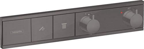 hansgrohe RainSelect 15380340 - Termostato para 2 consumidores, color negro y cromado