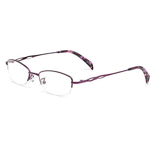 HQMGLASSES Luz Ultraligera Anti-Azul/Anti-Fatiga Gafas de Lectura, Lector de Lentes de Resina de Resina HD de Metal portátil dioptrías +1.0 a +3.0,Púrpura,+1.5