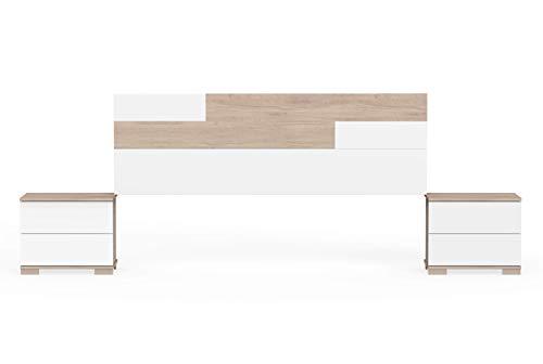 Muebles Pitarch Erika, Aglomerado de partículas y melanina de Alta Densidad, Aurora/Blanco, 105 x 212 x 36 cm/cabecero:55 x 170 x 1.6 cm mesitas:42 x 50 x 34 cm