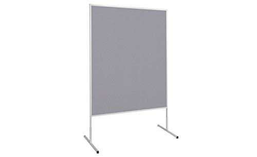MAUL Moderationstafel Filz Grau, Standard Pinntafel 150x120 cm, Beidseitig auch als Trennwand nutzbar, Standfuß, 6363382, 1 Stück