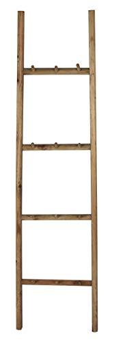 IB Laursen Leiter mit 12 Haken Holz Handtuchhalter 150 cm Hakenleiste Holzleiter DEKO Leiter