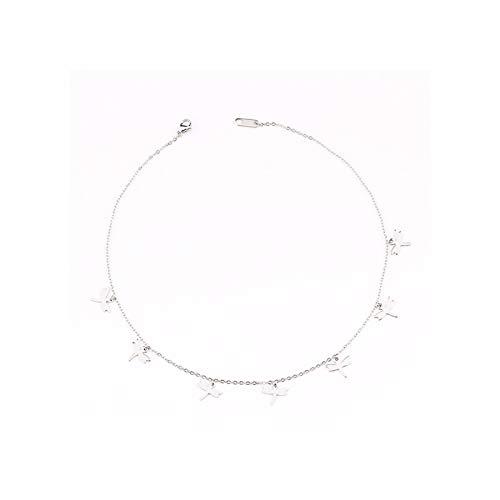 QMDSH Schmetterlingsstern-Halskette. (Length : 45cm, Metal Color : 0633 Silver)