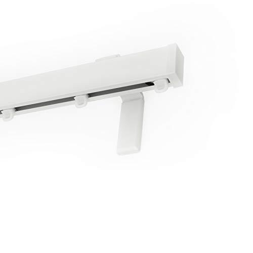 Home Design Shops Premium Gardinenschiene - Vorhangschiene Set | 3 Meter (kürzbar) | Komplett-Set Inkl. Befestigungsmaterial | Wandbefestigung | Weiss | Für Normale und Schwere Gardinen & Vorhänge