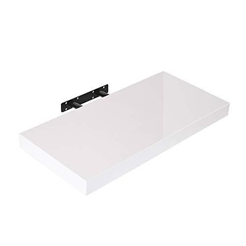 Edaygo Wandboard Wandregal Bücherregal Hängeregal Regal Freischwebend aus Holz, 50 x 23,5 x 3,8 cm, Hochglanz-weiß