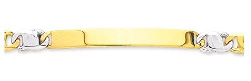 Www.diamants perles.com-- Braccialetto da bambino, identità da bambino, a maglia groumette, in oro bicolore, maglia Gourmette alternata