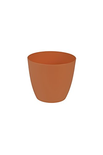 Plastkon Décoration Pot Ella Mat Diamètre 18 cm, Orange