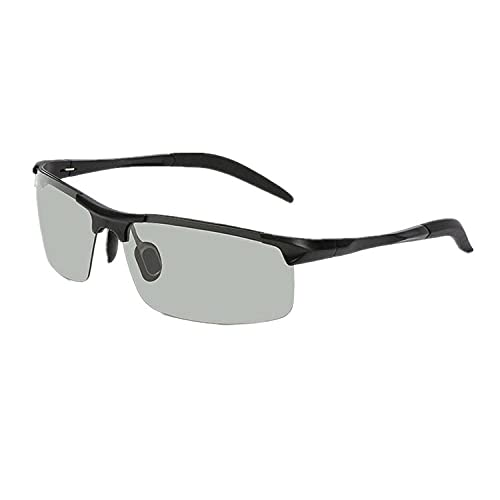 XXBFDT Gafas sol polarizadas hombres y mujeres - Gafas de sol cambiantes de color de magnesio de aluminio-Marco negro