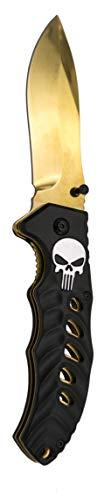 KOSxBO Punisher Klappmesser Messer Taschenmesser Black Gold - Freizeitmesser - Rettungsmesser - Einhandmesser - Camping - Outdoor - goldenes Messer