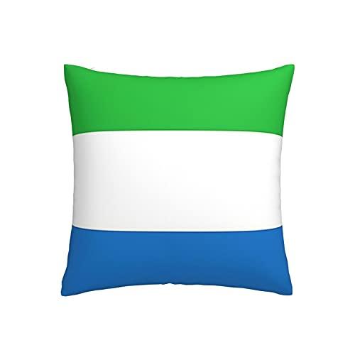 Kissenbezug, Motiv: Flagge von Sierra Leone, quadratisch, dekorativer Kissenbezug für Sofa, Couch, Zuhause, Schlafzimmer, für drinnen & draußen, 45,7 x 45,7 cm