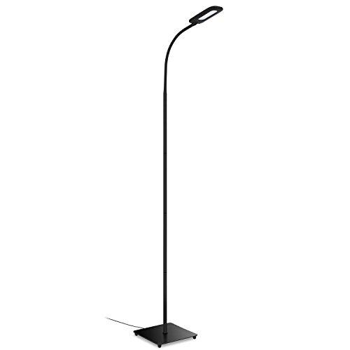 Aglaia Lámpara de Pie Ajustable, 6.8W Lámpara LED Táctil con 3 Niveles de Brillo y Cuidado de Ojos, Blanco Neutral para Habitación, Sala de Estar (Negra)
