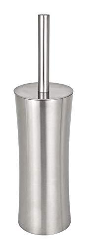 WENKO WC-Garnitur Pieno Matt Edelstahl - WC-Bürstenhalter, geschlossene Form, Edelstahl rostfrei, 10.1 x 37.5 x 10.1 cm, Satiniert