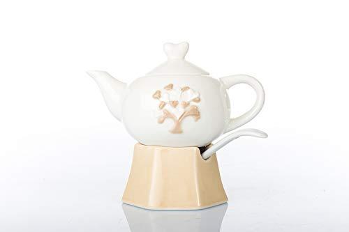 DLM31942 Set da caffè Zuccheriera e Lattiera a Forma di Caffettiera Moka in Porcellana con Cucchiaino Nozze Anniversario bomboniera