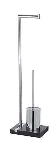 WENKO Stand WC-Garnitur Noble Black - WC-Bürstenhalter, Stahl, 20 x 74 x 15 cm, Chrom