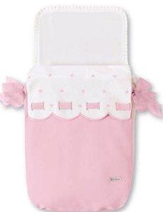 Bimbi Class Steppdecke für Babytragetasche, Weiß und Rosa