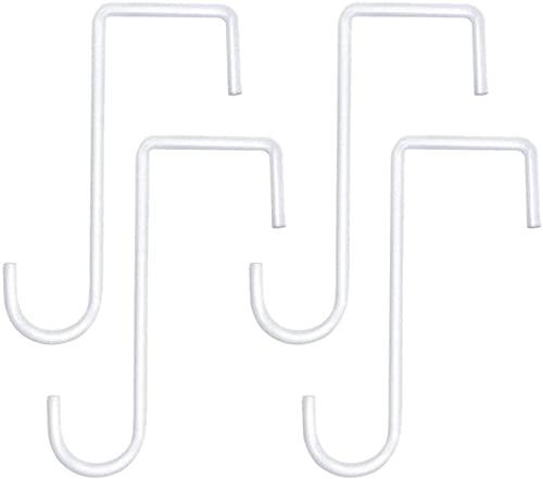 4 pezzi Ganci a forma di S Ganci in acciaio inossidabile Ganci per pentole Pentole Piante Borse Asciugamani Mangiatoie per uccelli Lanterne Antiruggine Giardino esterno (Bianco, dimension