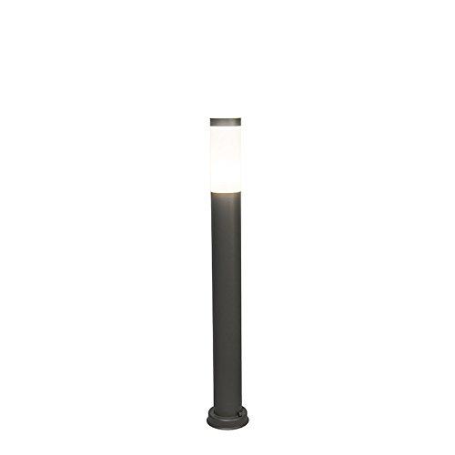 QAZQA Moderne Lampadaire/Lampe de sol/Lampe sur Pied/Luminaire/Lumiere/Éclairage d'extérieur anthracite 80 cm IP44 - Rox Plastique/Acier inoxydable Anthracite,Gris Cylindre/Oblongue E2