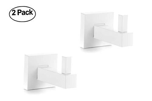 Bathroom Single Towel Robe Hook, Stainless Steel Wall Mounted Towel Robe, 2 PCS Towel Rack Hook for Bathroom Bedroom Kitchens, Waterproof/Heavy Duty/Matte White Finish