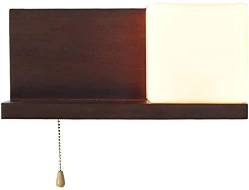 DZCGTP Aplique de Pared de Madera con Interruptor de Tiro Lámpara de Noche de Dormitorio nórdico japonés Accesorio cálido Luz Alta Luz de Pared de Vidrio E27 Ameircan