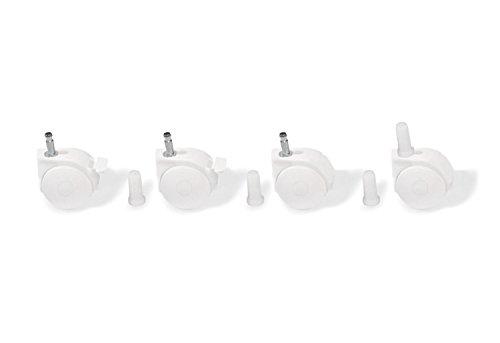 Pinolino 560011 - Juego de ruedas para cuna con enganche de pivote, color blanco