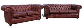 Designer Sofas4u Chesterfield Canapé 3 Places + canapé 2 Places Old English Canapé en Cuir Marron