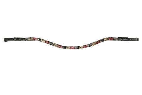 HKM Stirnband -Crystal Flag-, schwarz/rot/Gold, Vollblut