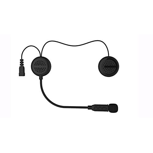 Montloxs Casco de motocicleta BT Intercomunicador con auricular con radio FM Intercomunicador de casco impermeable Sistema de comunicación de motocicleta con llamadas manos libres y comando voz para