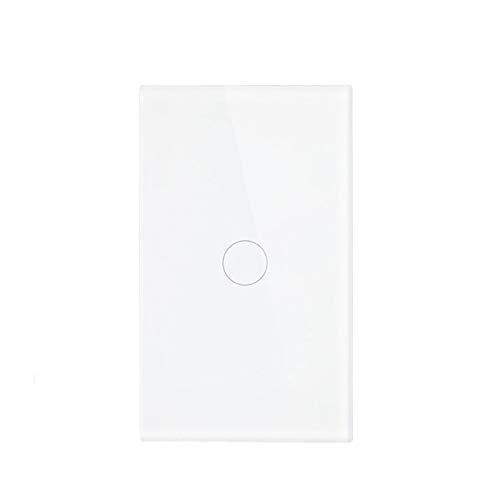 DJNCIA Panel de interruptores 1 Gang 1 Way Luz de Pared Sensor Touch Sensor Switch Power Luxury Crystal Glass Individual Fire Line Sólo Función Toque para Oficina en casa