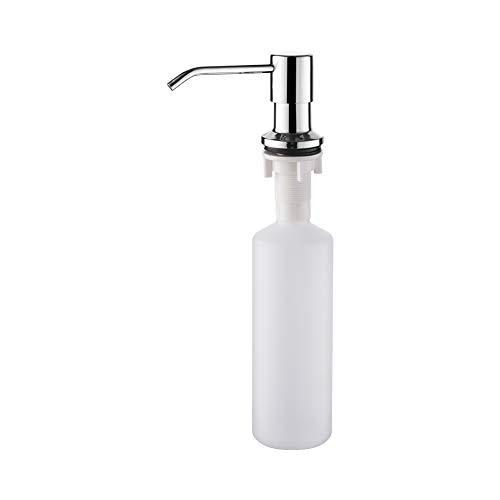 Ibergrif M34027 Dispensador de Jabón Líquido, Detergente de Cocina Incorporado, Plata, Acero Inoxidable, 300 ML, Talla única