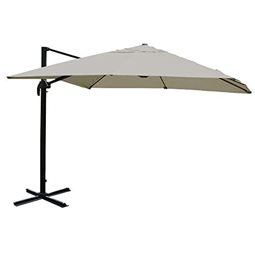 Mendler Gastronomie-Ampelschirm HWC-A96, Sonnenschirm, 3x3m (Ø4,24m) Polyester/Alu 23kg - Creme-grau ohne Ständer