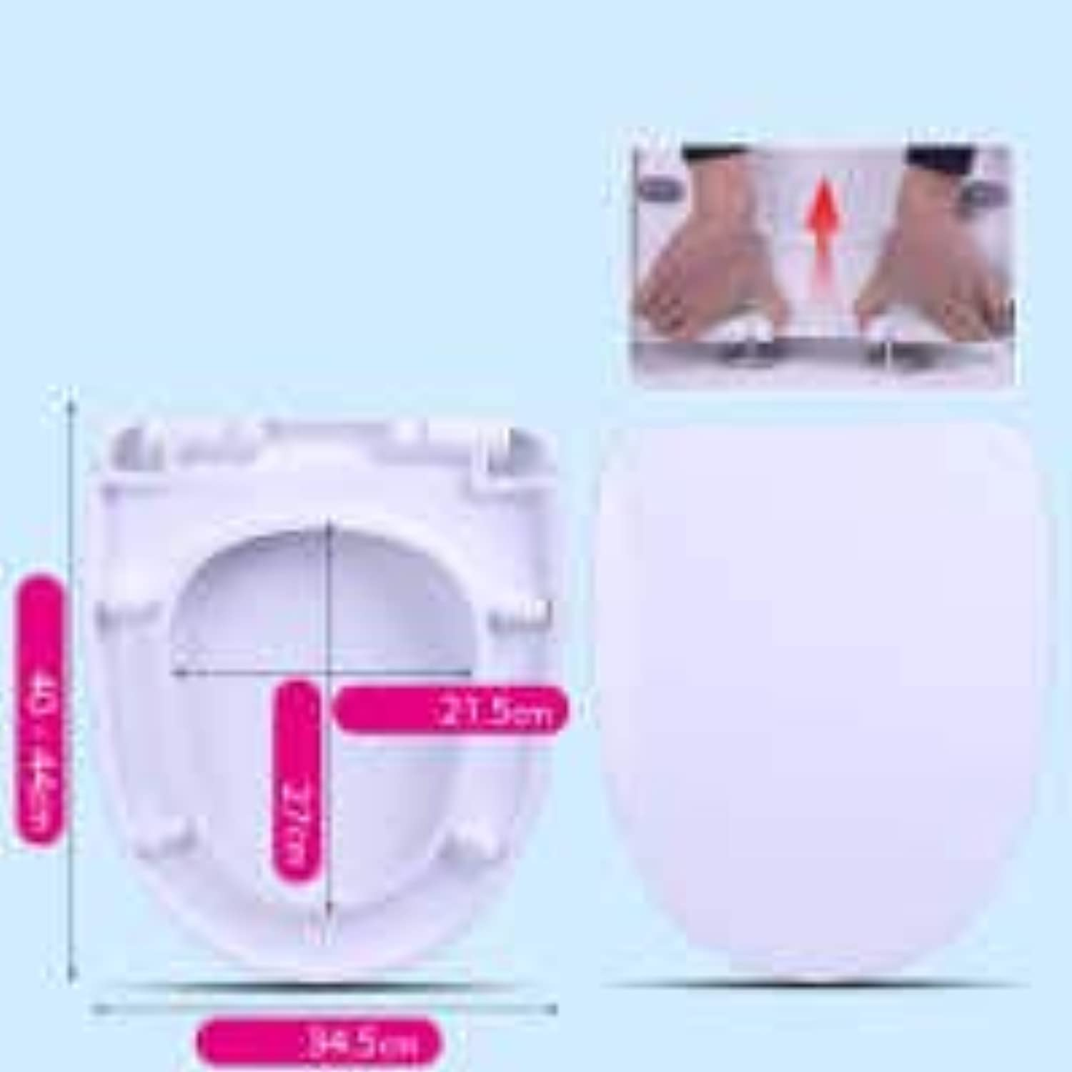 Toilet Seats U Shape Universal with Slow Down Silent Slow Down Antibacterial Top Mounted Thickened Toilet Lid for Suitable for Hotels Bathrooms Families