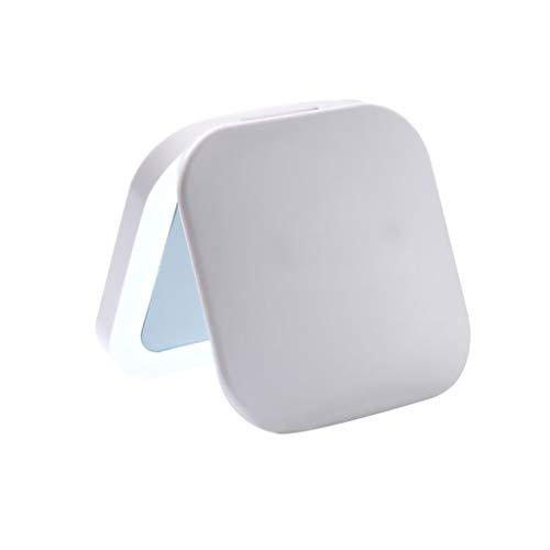 Miroir de Maquillage- Miroir de Toilette portatif avec lumière LED, lumière d'appoint pour agrandir Le Miroir Pliant (Couleur : Blanc)