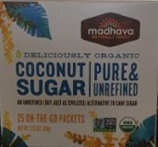 Madhava Coconut Sugar - Pure & Unrefined - Deliciously Organic - 25 On The Go Packets ( 2Pack)