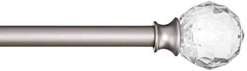 Amazon Basics Tringle à rideau décorative diamètre 1,6 cm avec embouts Boule à facette - 218 cm, Transparent