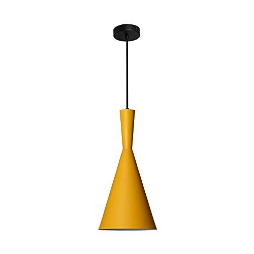 LEDKIA LIGHTING Lámpara Colgante Lennon 185x380 mm Amarillo E27 Casquillo Gordo Aluminio Decoración Salón, Habitación, Dormitorio