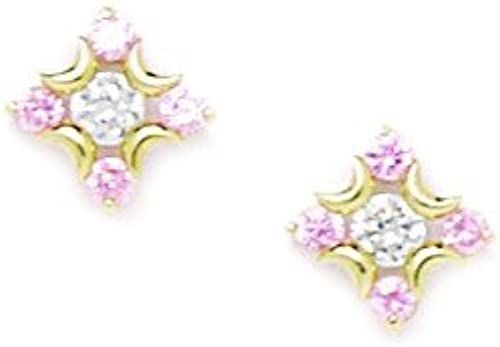 14Karat    GelbGold Blaume mit Rosa Cubic Zirkonia, Unisex, Größe M, Ma  9 JewelryWeb Ohrringe x 9 mm