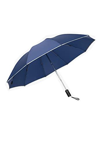 Paraguas de Coche Personalidad de los Hombres Creativo Completamente automático Lluvia y Lluvia Paraguas inverso Paraguas Plegable para Mujer Paraguas automático Paraguas de Viaje Azul Real