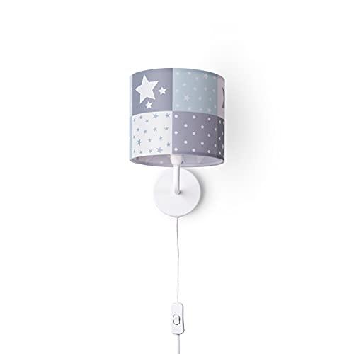 Paco Home Luminaria Infantil De Pared Interior Con Interruptor Estrellas Puntos Cuadros Longitud Cable 3m E14, Tipo de lámpara:Lámpara de pared - Blanco, Luminarias Color/Tamaño:Azul (Ø18 cm)