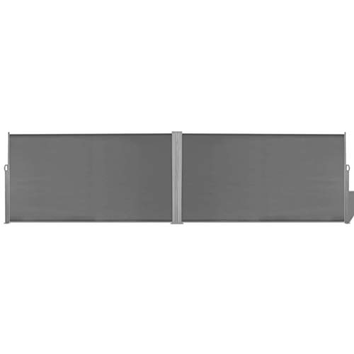 vidaXL Toldo Lateral Retráctil de Acero y Tela 160x600cm Gris Biombo